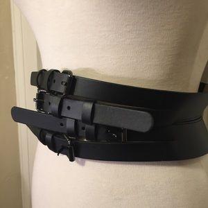 BCBGMAXAZRIA multi-buckle waist belt M